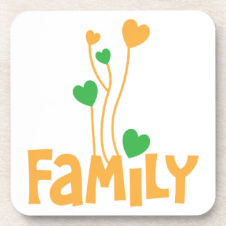 FAMILY words with love heart balloons Coaster