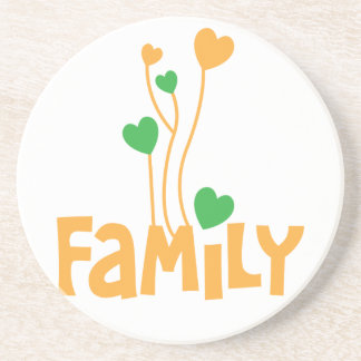 FAMILY words with love heart balloons Sandstone Coaster