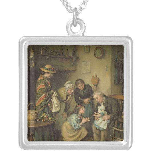 Family Worship, from the Pears Annual, 1911 Silver Plated Necklace