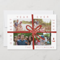 Family year in review photo collage Christmas card