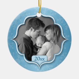Family's 1st Christmas Blue Photo Ornament
