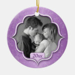 Family's 1st Christmas Purple Photo Ornament