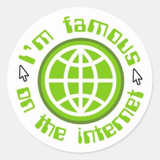 Famoso en el Internet Pegatina Redonda