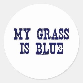 Famoso mi hierba es azul pegatina redonda