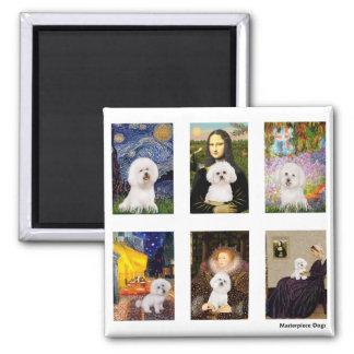 Famous Art Bichon Frise Composite (clear) 2 Inch Square Magnet