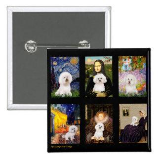 Famous Art Bichon Frise Composite Pinback Buttons