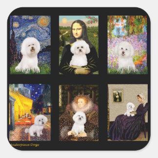 Famous Art Bichon Frise Composite Square Sticker