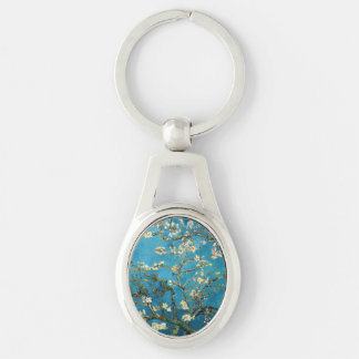 Famous art, Blossoming Almond Tree by Van Gogh Silver-Colored Oval Metal Keychain