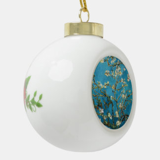 Famous art - Blossoming Almond Tree. Vincent van Ceramic Ball Christmas Ornament