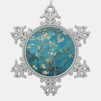 Famous art - Blossoming Almond Tree. Vincent van Snowflake Pewter Christmas Ornament