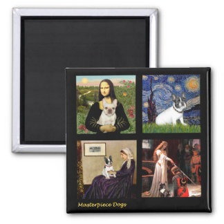 Famous Art French Bull Dog Composite 2 Inch Square Magnet