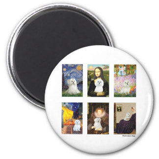 Famous Art Maltese Composite (clear) 2 Inch Round Magnet