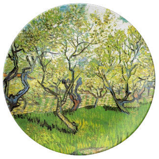 Famous art, Orchard in Blossom by Vincent van Gogh Dinner Plate