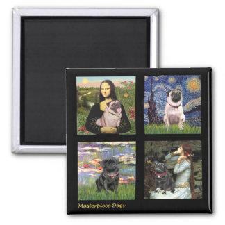 Famous Art Pug Composite #1 2 Inch Square Magnet