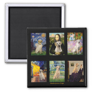 Famous Art Yellow Lab Composite 2 Inch Square Magnet