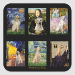 Famous Art Yellow Lab Composite Square Stickers