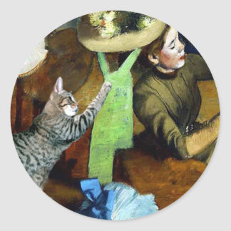 Famous Artists' Cat In Degas' Hat Shop Classic Round Sticker