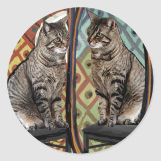 Famous Artists Cats Cat In A Mirror Classic Round Sticker