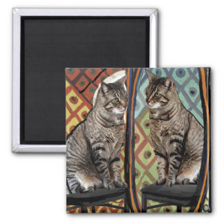 Famous Artists Cats Cat In A Mirror Magnet