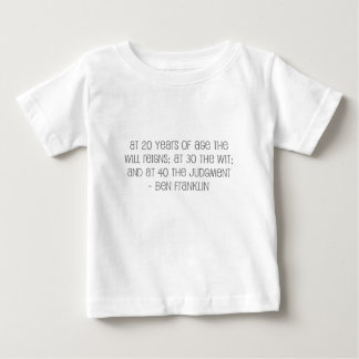 """Famous, """"At 20,30,40"""" quote Baby T-Shirt"""