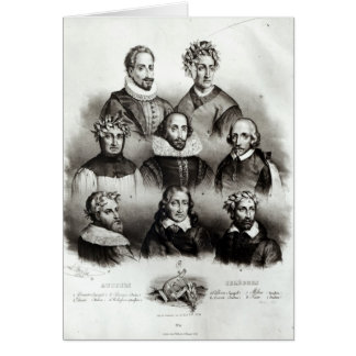 Famous Authors, 1833 Greeting Card