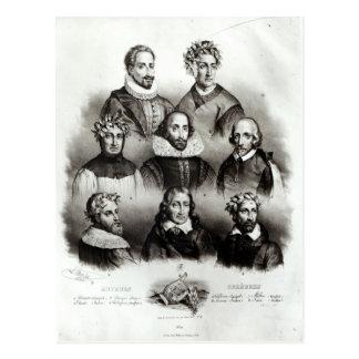 Famous Authors, 1833 Postcard
