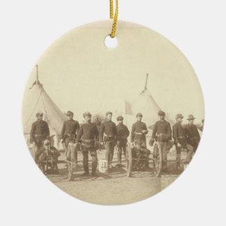 Famous Battery E 1st Artillery & 3 Hotchkiss Guns Double-Sided Ceramic Round Christmas Ornament