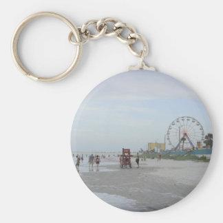 Famous Beach Basic Round Button Keychain
