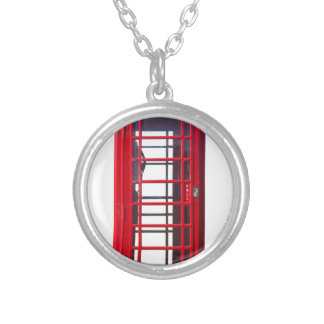 Famous British red telephone booth box Round Pendant Necklace
