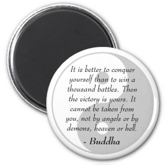 Famous Buddha Quotes - Conquer Yourself 2 Inch Round Magnet