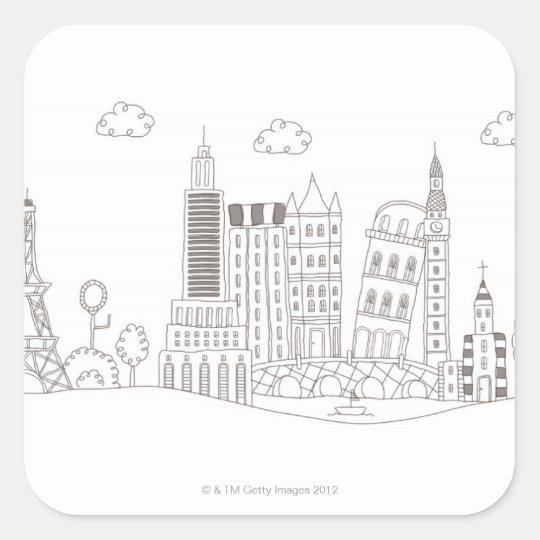 Famous Buildings Square Sticker