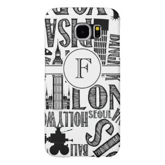 Famous Cites, Black and White Monogram Samsung Galaxy S6 Case