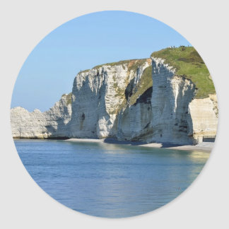 Famous cliffs of Etretat in France Round Stickers