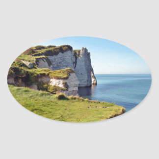 Famous cliffs of Etretat in France Oval Stickers