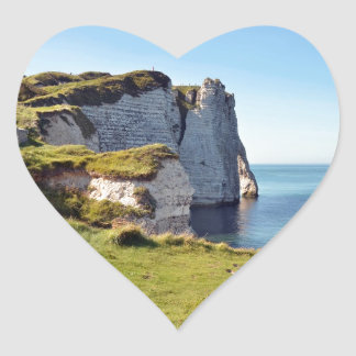 Famous cliffs of Etretat in France Heart Stickers