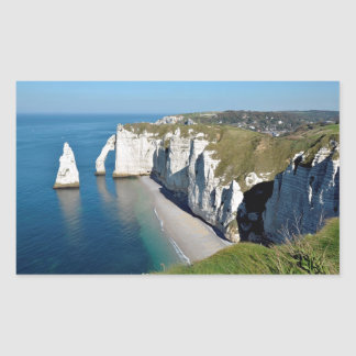 Famous cliffs of Etretat in France Rectangle Stickers