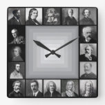 Famous Composers Black and White Portraits Wallclock