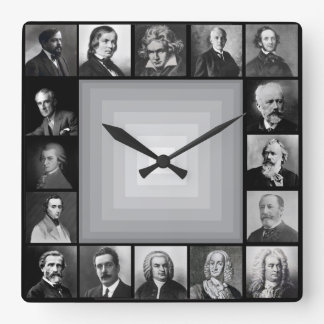 Famous Composers Black and White Portraits Square Wall Clock