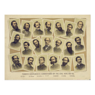 Famous Confederate Commanders of the Civil War Postcards