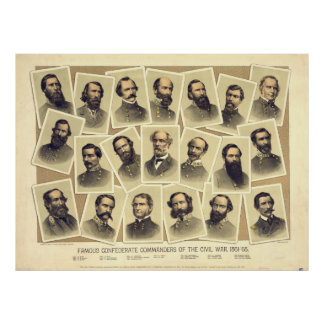 Famous Confederate Commanders of the Civil War Poster