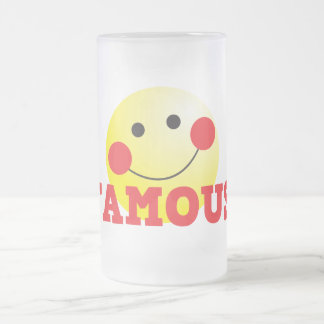 FAMOUS cute face 16 Oz Frosted Glass Beer Mug
