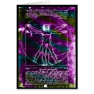 Famous DaVinci Man in Circle Drawing, colored! Greeting Card