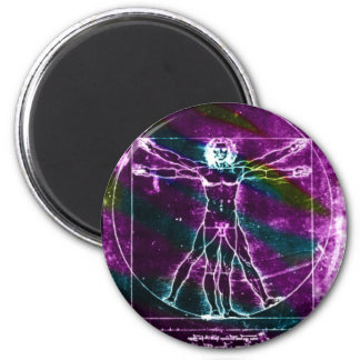 Famous DaVinci Man in Circle Drawing, colored! Magnet