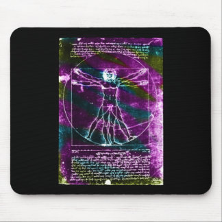 Famous DaVinci Man in Circle Drawing, colored! Mouse Pad