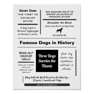 Famous Dogs in History Typography Poster