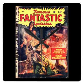 Famous Fantastic Mysteries 4_Pulp Art Square Wall Clock