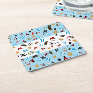 famous icons of Argentina with flag Square Paper Coaster