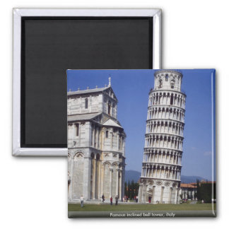 Famous inclined bell tower, the Leaning Tower of P 2 Inch Square Magnet