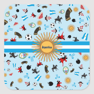 Famous items of Argentina with flag across it Square Sticker