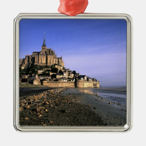 Famous Le Mont St. Michel Island Fortress in Square Metal Christmas Ornament